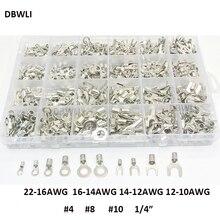"""720 stuks Niet geïsoleerde Ring Vork U type Terminals Assortiment Kit Crimp Spade Set #4 #8 #10 1/4 """"Lug Kabel Draad Connector"""