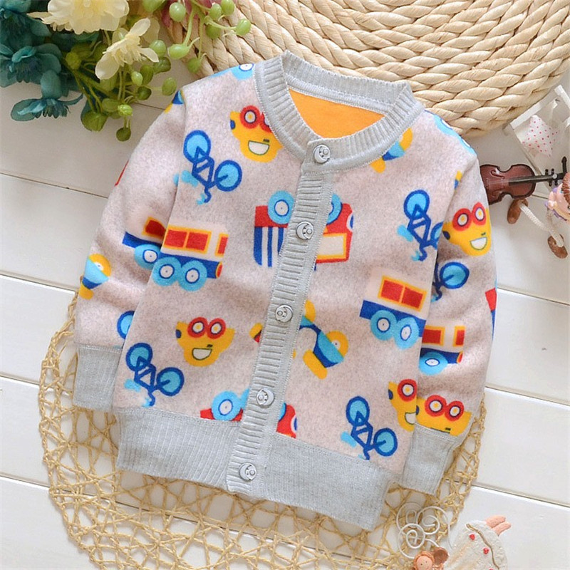 BibiCola 2017 New Sweaters Boys Girls Cardigan Coats Casual Baby Boys Jackets Autumn Chidlren's Sweater Kids Cartoon Warm Coats