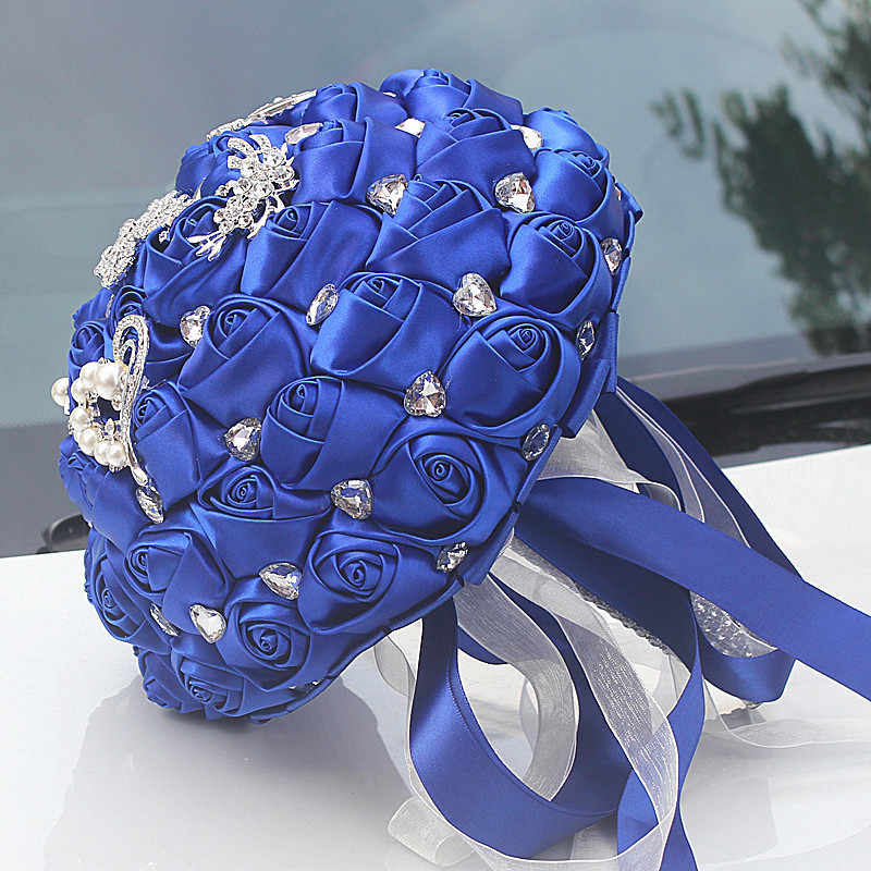 JaneVini Graceful Royal Blue ดอกไม้ซาตินประดิษฐ์เจ้าสาว Bouquets คริสตัลไข่มุกเจ้าสาวงานแต่งงานอุปกรณ์เสริม Ramo Flores