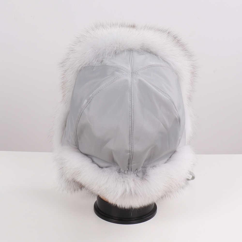 新しい女性の本物のキツネの毛皮の爆撃機帽子ナチュラルロシア Ushanka 帽子冬厚く暖かい耳ファッションリアルキツネの毛皮の帽子