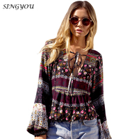 SINGYOU Women Shirt Autumn Bohemian Low Cut Flower Pattern Full Sleeve Tops Casual National Style Sexy
