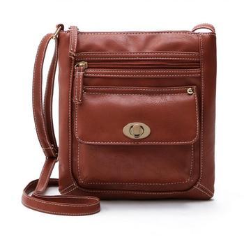 Female bag hot new portable car suture turn buckle small single shoulder bag Fashion female inclined bag, pu leather bag