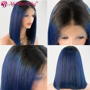 Blue Ombre 4 Inch Lace Front Wigs Colorful Short Bob 100% Human Hair Wigs For Women Brazilian Remy Full End AliBlissWig