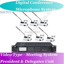 World Class Video Type Host Digital Wireless Microphone Conference Meeting System ( President + Delegates Desk Unit ) high end uhf 8x50 channel goose neck desk wireless conference microphones system for meeting room