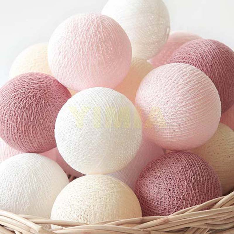 Pastel Rosy Brown Pink Cream White Cotton Ball Lights LED String Fairy Holiday Night Lights For Kid's Room Birthday Gift Wedding