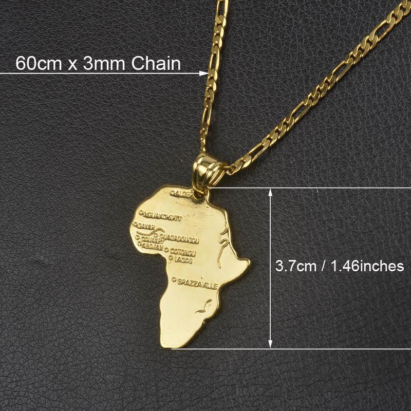 Anniyo кулон Карта Африки ожерелье для женщин мужчин серебро/золото Цвет эфиопские ювелирные изделия карты Африки хип-хоп Пункт#132106 - Окраска металла: 60cm by 3mm Chain