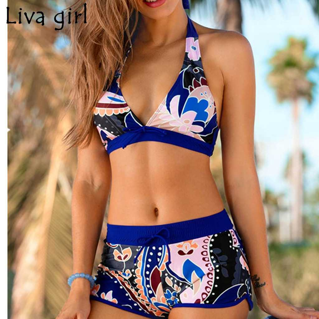 Liva girl Printed Bikini Women New Swimsuit Push Up Bikini White Bathing Suits Brazilian  Fashion Top Beach wear Bathing Suits