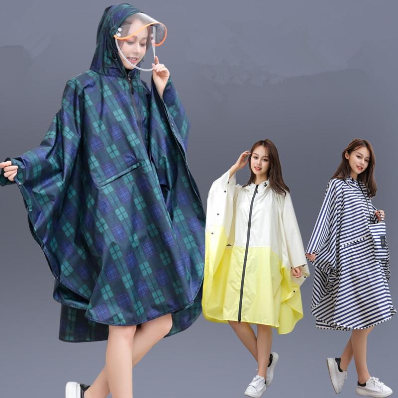 raincoat women Men waterproof Backpack,Rainwear Outdoors Rain coat cap Poncho jacket cloak Chubasqueros big clear visor