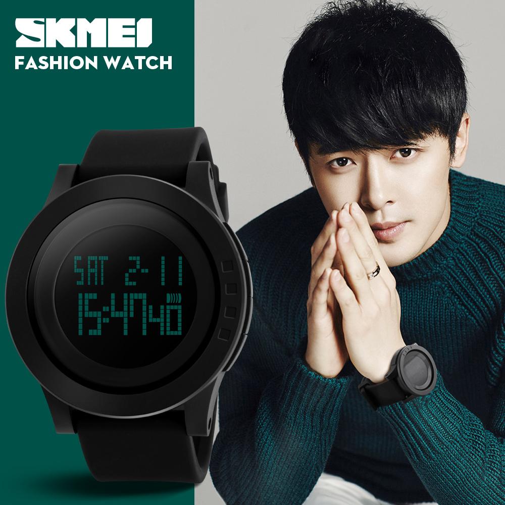Prix pour 2017 skmei hommes sport numérique montre de mode silicone étanche led poignet grand cadran vert montre pour hommes horloge relogio masculino
