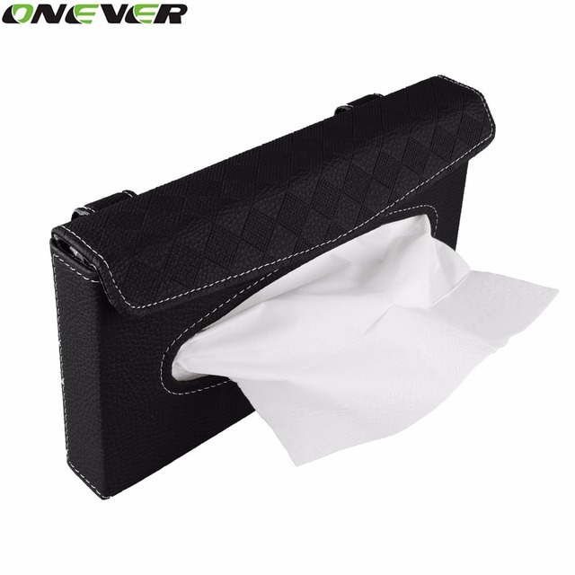 PU Leather Car Tissue Box Mounted On Sun Visor Back Beige Seat Storage Car Styling Organizer Accessories