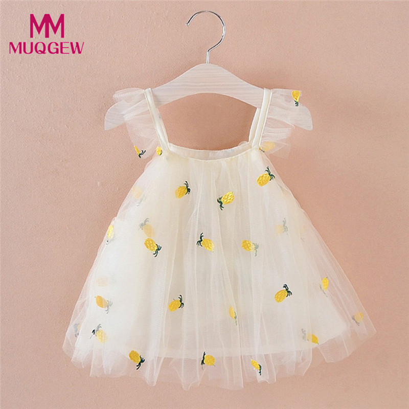 6-24M Newborn Baby Girl Pineapple Embroidery Princess Casual Strap Dress Party Child Dress Party Cute Vestidos Infantil #sg