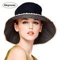 2016 Mujeres Del Verano de Big Girls Cap Panamá Sombreros de Punto de Encaje de la Playa Femenina Sol Sombrero de Visera JA9005