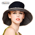 2016 Summer Women's Girls Big Cap Visor Panama Female Sun Hats Dot Lace Beach Hat JA9005