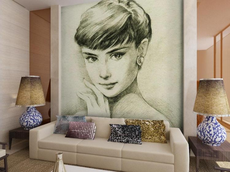 ФОТО Free Shipping Hepburn pencil sketch non-woven wallpaper study room living room background wallpaper mural