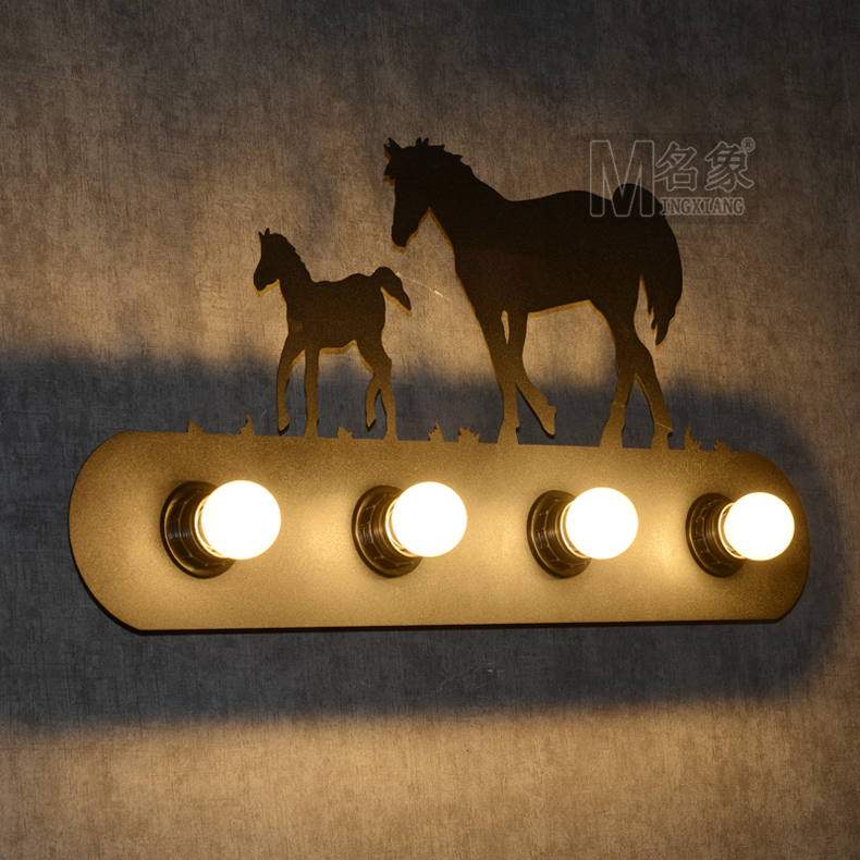 Elephant fashion brief personalized wall lamp american vintage iron bedside wall lamp Four lights elephant fire forest wall hanging tapestry