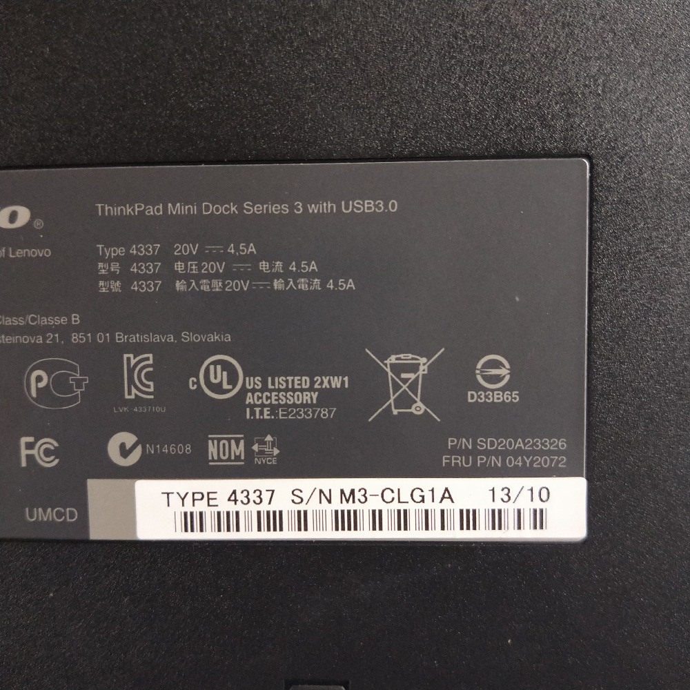 Lenovo 04W3587 ThinkPad Dock Series 3 W// USB 3.0 /& Key Type 4337 No Adapter