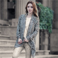 Quality 2017 Autumn Winter Cardigan Sweater Women Irregular Leopard Long Sleeve  female Outwear Clothes XDJ150