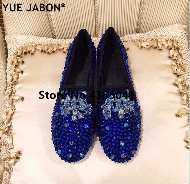 Luxury gold rhinestones sneakers Slip on bling bling mixed color flat shoes crystal women casual shoes footwear dot Loafers