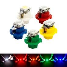 цена на 50 Pcs / Lot T5 B8.4 LED Lamp 5050 Chip 1 SMD T5 Car Dashboard Instrument Light Bulb 12v Blue Yellow Red Green White Each Of 10