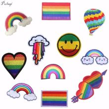 Pulaqi Regenboog Ijzer Op Patches Voor Kleding Lgbt Vlag Gay Pride Geborduurde Patch Sticker Op Kleding Diy Applicaties Decor F(China)