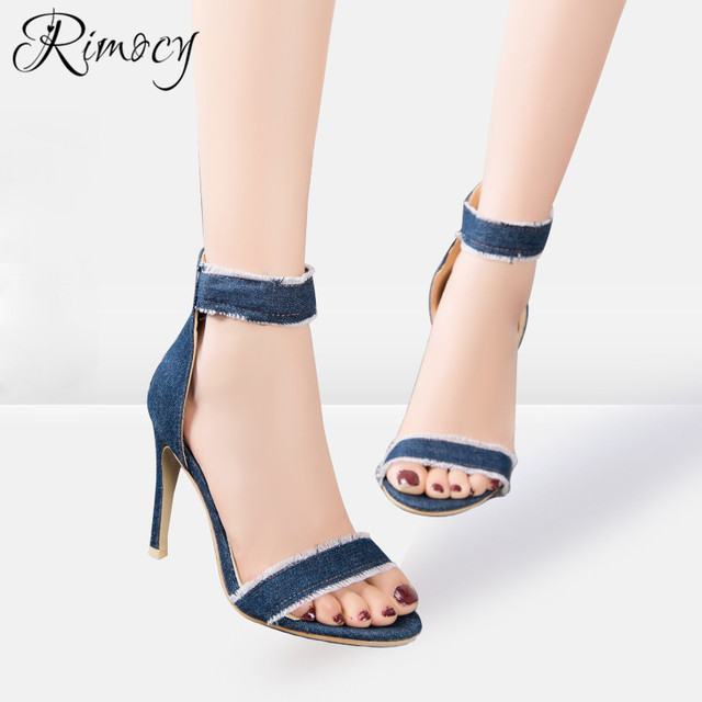 d5f005cf7419 Rimocy ripped blue jeans ankle wrap women sandals gladitor super thin high  heels back zip woman pumps fashion ladies denim shoes
