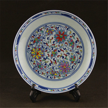 Yong Zheng blue and white porcelain hand-painted color scrolling lotus collection decorative plate