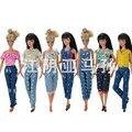 Louco Venda Estilo Único Pano-encaixe Calças de Jeans Terno para Barbie Roupas para Bonecas BJD
