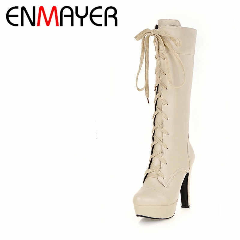 ENMAYER Fashion Shoes Woman Mid-calf Boots Winter Warm Shoes Motorcyle Boots Big Size 34-45 Platform Shoes High Heels Lace-Up enmayer winter woman boots pointed toe lace up shoes winter warm boots black red 2017 new fashion shoes ankle boots big size
