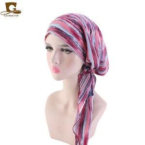 Image 5 - Hồi giáo Trước Buộc Khăn Hóa Trị Beanies Bonnet Mũ Lưỡi Trai Nữ In Hoa Mềm Mại Băng Đô Cài Tóc Turban Gọng Mũ Khăn Trùm Đầu Bọc Ung Thư Phụ Kiện Tóc