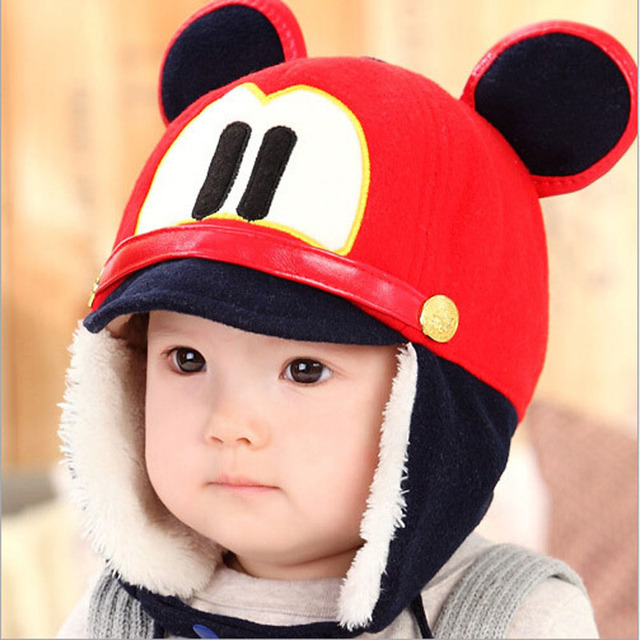 Winter Baby Warm Mickey Mouse Caps Woollen Thicken Ear Protectors Infants  Girls Boys Cotton Hat Kawaii Newborn Photography Props 45deaf5f420