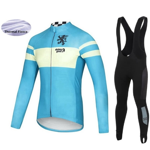 STOLEN GOAT 2018 Racing suit Winter Bicycle clothing kit Cycling Jersey  Long sleeve Bib tights Windproof sets Thermal Fleece f7e03a4aa