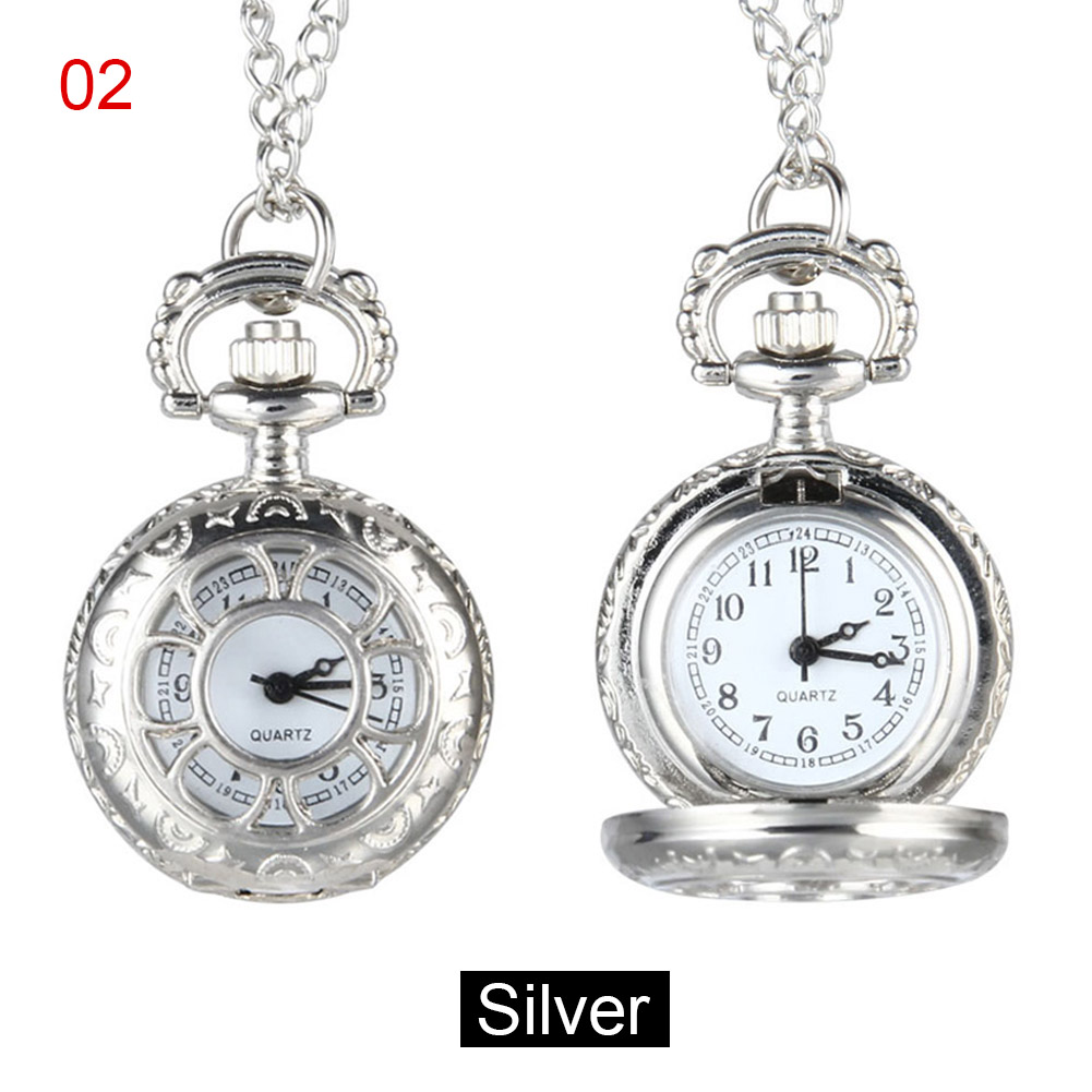 Newly Quartz Pocket Watch Alloy Chain Hollow Out Flower Flip Cover Vintage Pendant Watches For Women M99