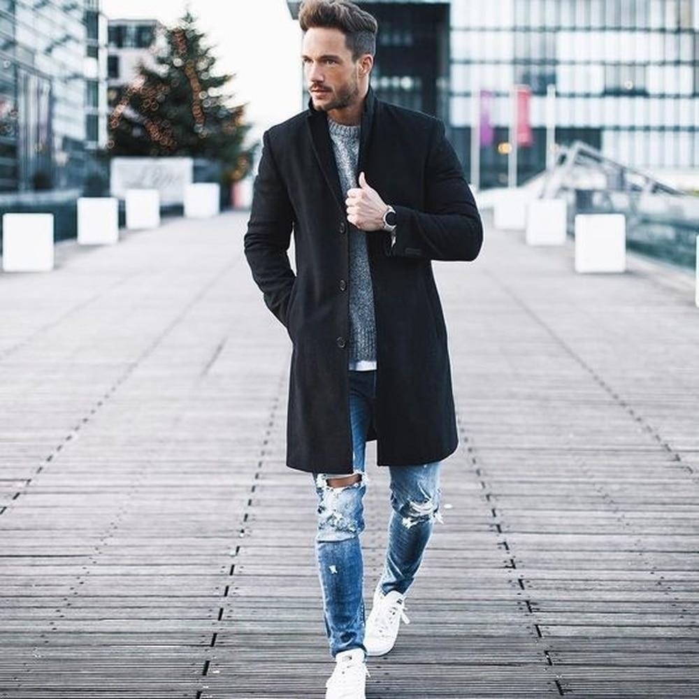 ZOGAA Fashion Autumn Winter Men Long Trench Coat Plus Size Solid Color Lapel Collar Men Wool Overcoat Brand Casual Mens Coats