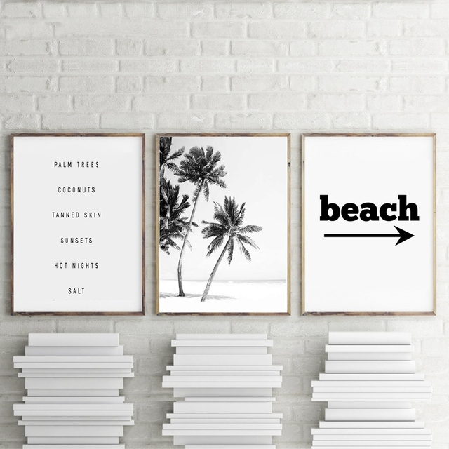 Beach Art Decor Black And White Palm Trees Canvas Print Landscape Painting Wall