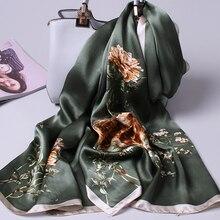 Чистый Шелковый шарф женский Ханчжоу Настоящие шелковые шарфы для женщин шали с принтом винтажные шарфы шелковый натуральный платок для женщин