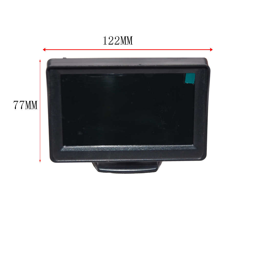 "Cámara de visión trasera de coche de gran grado 4,3 ""TFT LCD Monitor de pantalla en Color + visión nocturna impermeable de marcha atrás de respaldo 2In1 aparcamiento Reve"