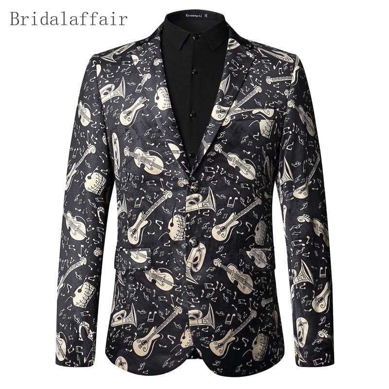 2017 Blazer Männer Floral Jacke Musikinstrumente Gedruckt Blazer Prom Party Hochzeit Smoking Leistung Kleidung Männer Anzug Mantel