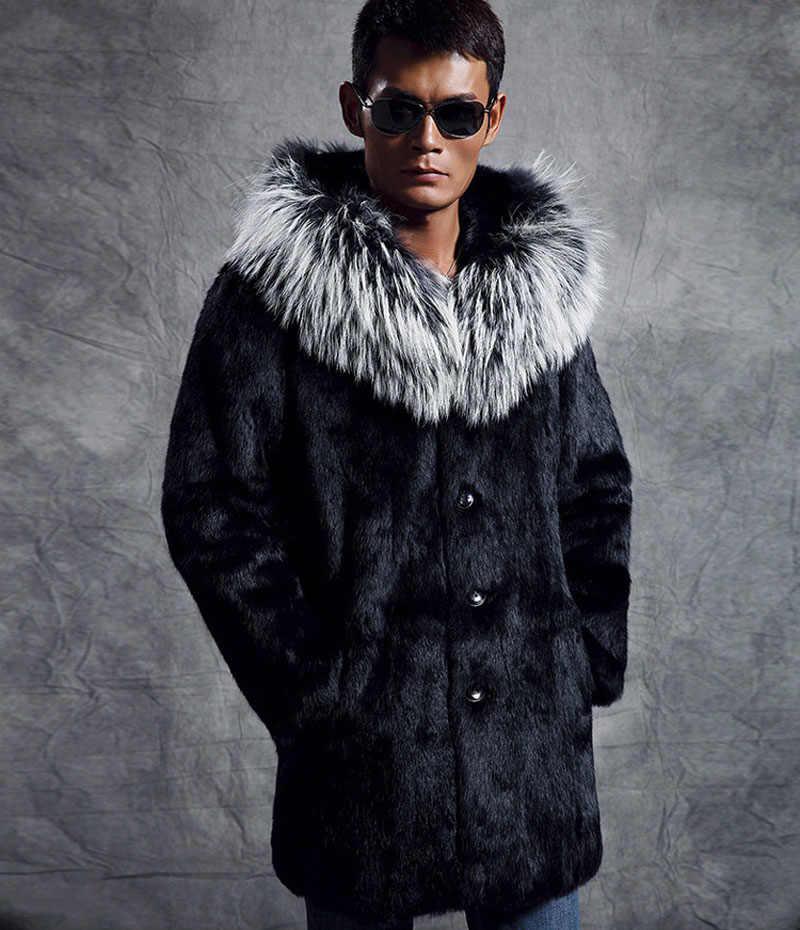 2018 зимние Для мужчин бренд 6XL меховой воротник длинный искусственный мех норки пальто мужской черный мех верхняя одежда 2018 плюс Размеры Меховая куртка XS-XXXL