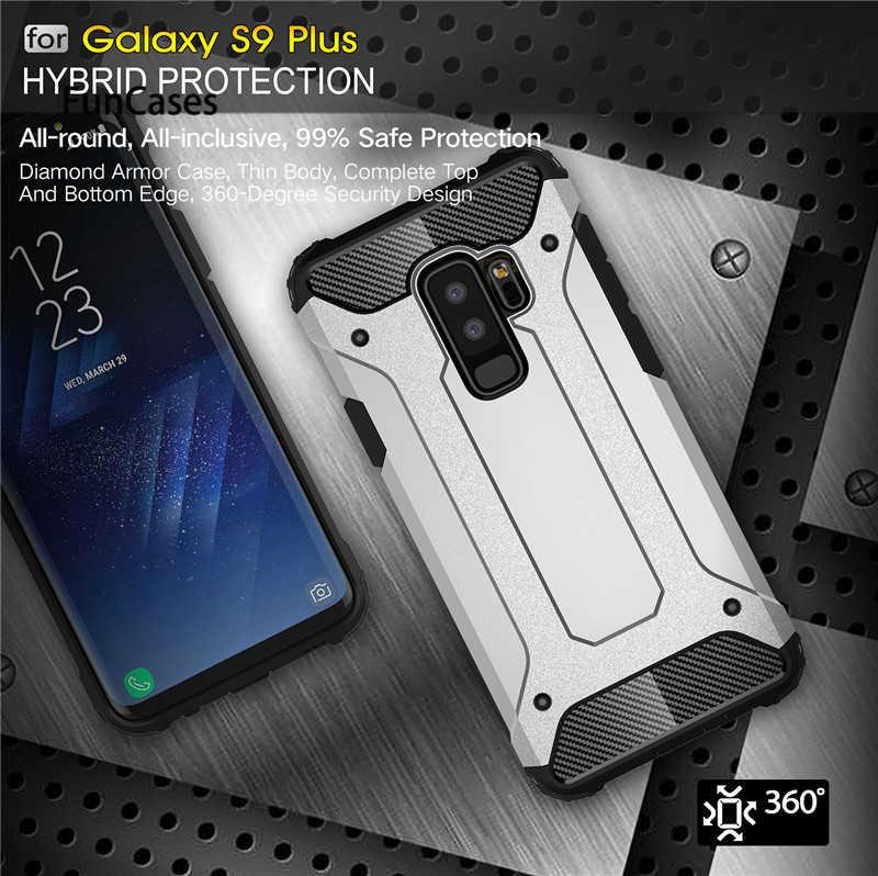 Wytrzymałe opancerzenie etui do Samsung Galaxy S9 Plus S5 S6 S7 krawędzi S8 uwaga 4 5 8 9 A6 A7 A8 J8 J4 J6 Prime 2018 twardy PC, odporna na wstrząsy obudowa