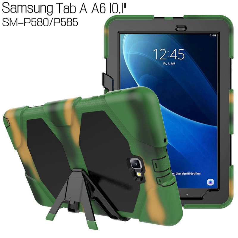 Heavy Duty Hybrid Army Silicone Cover for Samsung Galaxy Tab A A6 With S Pen P580 P585 10.1 Tablet Funda Case