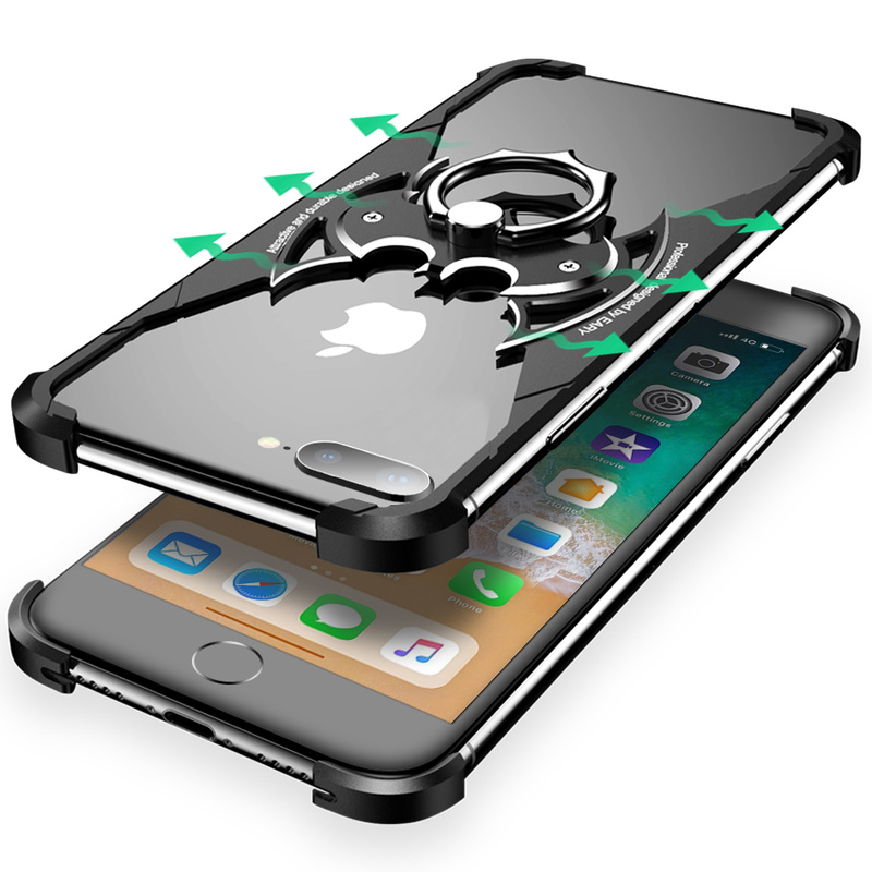 PADCOVER for iPhone 7 8 Case Bat Design Bumper Airbag Metal Case Luxury Ultra-thin Ring Holder Shell for iPhone 7 8 Plus Cover