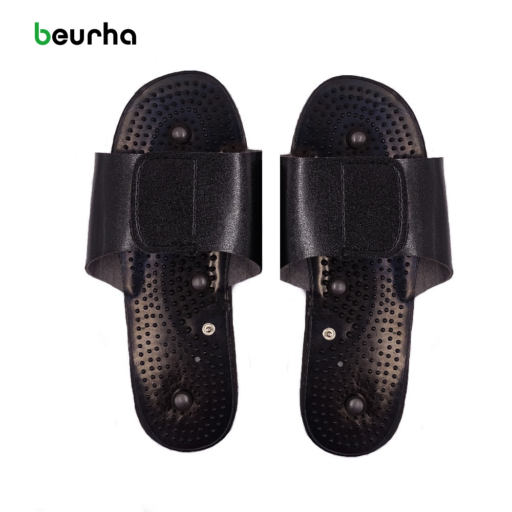 Beurha Electrode Massager Physiotherapy Slippers Tens Acupuncture Therapy  Body Foot Relaxing Massager Machine Rubber Black 4 electrode massager therapy acupuncture tens mini digital pulse extra useful us