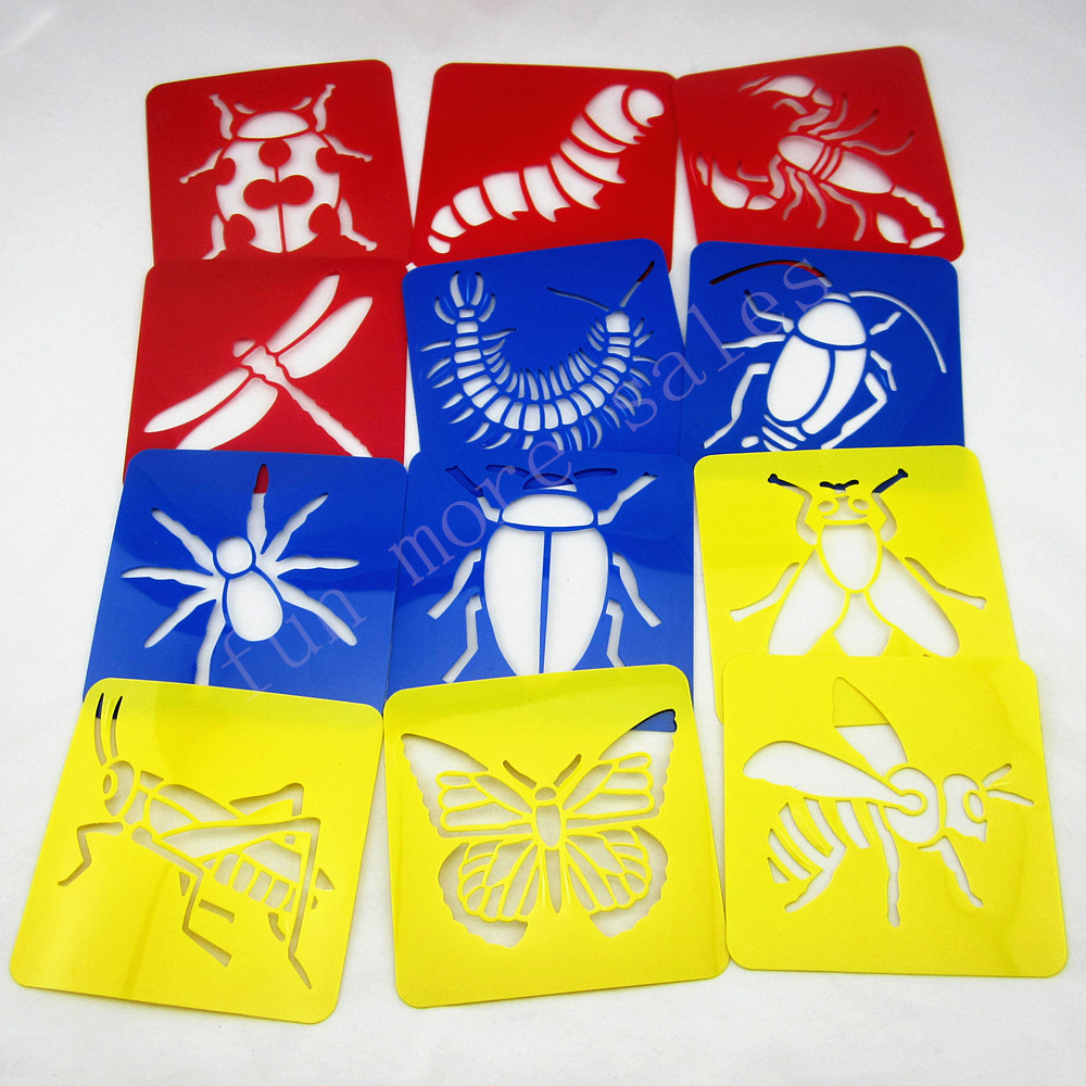 12Designs/set Stencils for painting Big bug Kids drawing templates Plastic boards baby hot toys for children Washable 128x128mm