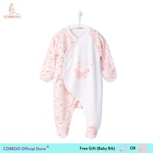 цены Newborn Baby footies 0 6 Month Cute Butterfly Infant Girl Boy Jumpsuit Baby Footies Socks Baby Clothes for Newborn NY150063