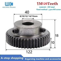 ¡1 piezas engranaje piñón 120 dientes M1 Bore Dia! 8/10/11/12/15mm dientes rectos positivo 45 # acero con B
