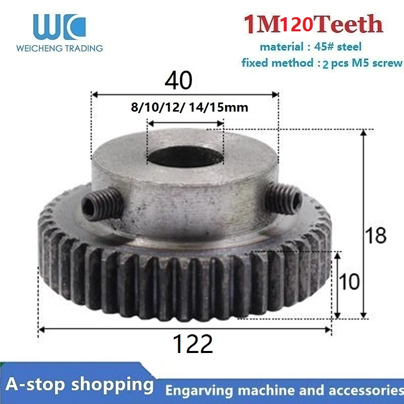1Pcs Spur Gear Rack Pinion 120 Teeth M1 Bore Dia. 8/10/11/12/15 Mm Straight Teeth Positive 45# Steel With B