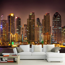 цена на 3d Space Large City b=Building Night View Large Murals Living Room Sofa TV Background Wallpaper Bedroom Study Wall painting