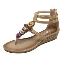b0293975b3 GOXPACER Mulheres Sapatos de Salto Baixo Sandálias de Cunha de Borracha Moda  Talão Sapatos Flats Casual