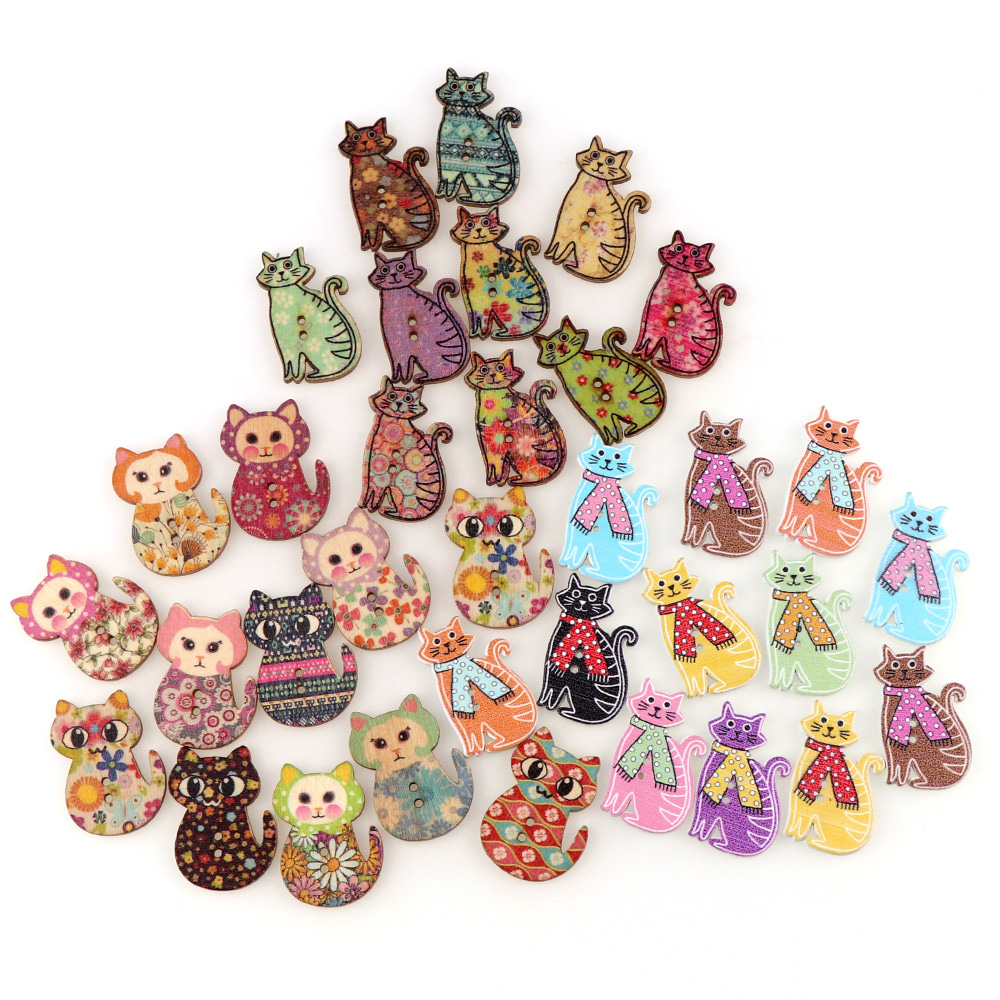 50Pcs Mixed Color Animal Dogs Wooden Buttons Fit Sewing and Scrapbook LC