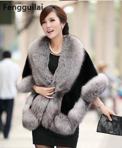 2018 invierno cuero hierba piel de zorro visón piel de conejo Poncho capa nupcial vestido de novia chal capa Mujer chaleco abrigo de piel